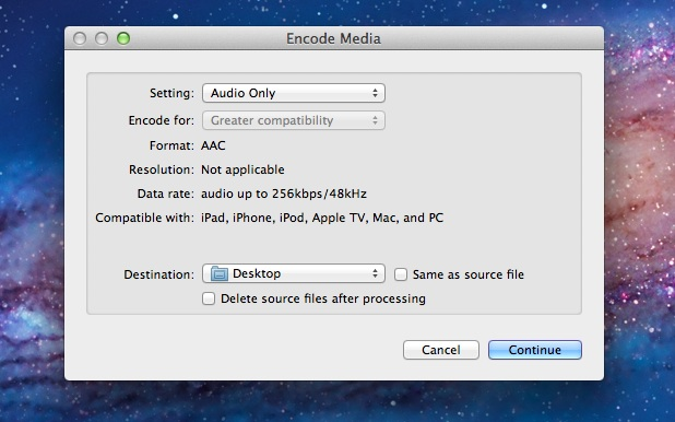 Convert Video to Audio on Mac OS X Lion